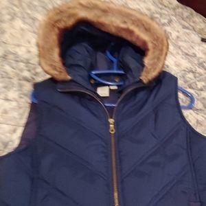 Caslon vest with removable faux fur hood